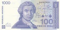 Croatie 1000 Dinara R. Boskovic - Cathédrale Zagreb - 1991 - Neuf  P.21