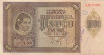 Croatie 1000 Kuna 1941 jeune fille, montagnes