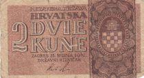 Croatie 2 Kune 1942 - Marron, Armoiries