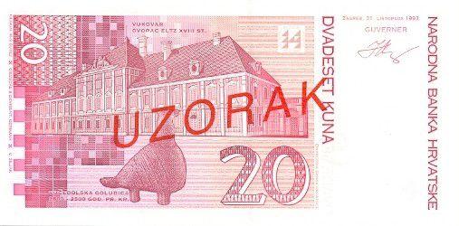 Croatie 20 Kuna J. Jelacic - Château comte Eltz