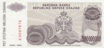 Croatie 500 000 000 Dinara 1993 - Armoiries, Château
