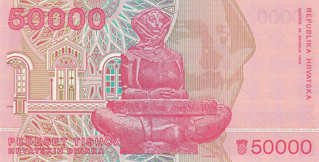 Croatie 50000 Dinara R. Boskovic - Cathédrale Zagreb - 1993 - Neuf  P.26