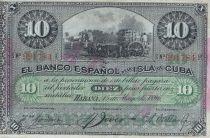 Cuba 10 Pesos Harvesting sugar cane Overprint PLATA