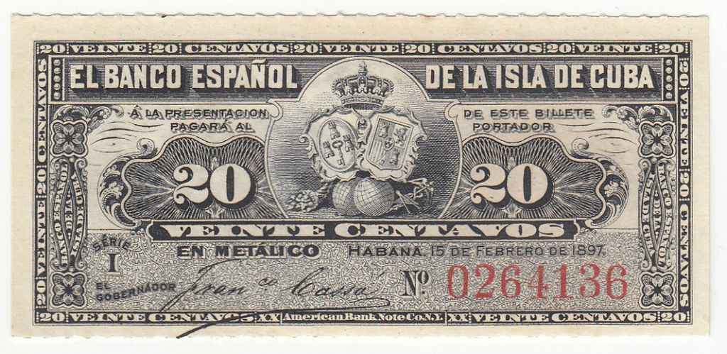 Cuba 20 Centavos 1897 - Harvesting sugar cane