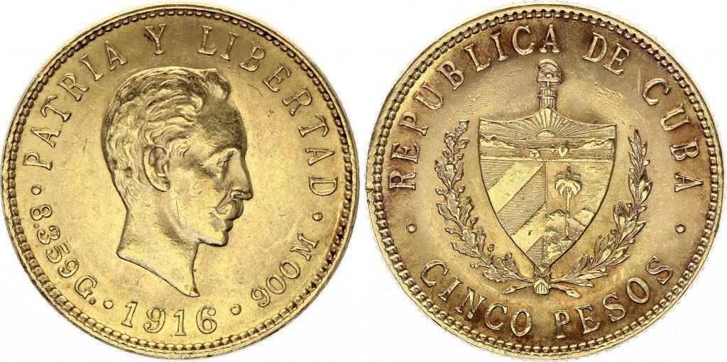 Cuba 5 Pesos  - José Marti - 1916 Or