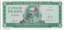 Cuba 5 Pesos Antonio Maceo - Invasion of 1958 - 1972
