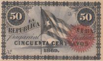 Cuba 50 Centavos - Flag - 1869