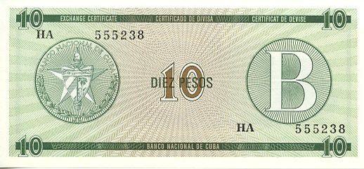 Cuba FX.8 10 Pesos, Série B - Los Angeles de Jagua