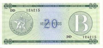 Cuba FX.9 20 Pesos, Serie B - Real Fuerza