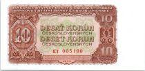 Czechoslovakia 10 Korun Brown on lt. green and orange - 1953