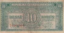 Czechoslovakia 10 Korun ND1945 - Green
