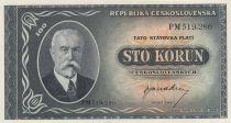 Czechoslovakia 100 Korun Tomas G. Masaryk - 1948 - P.63a - UNC