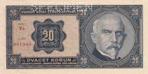 Czechoslovakia 20 Korun Rastislav Stefanik, A. Rasin -  1926 - Specimen - UNC - P.21