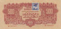 Czechoslovakia 500 Korun Red with Stamp