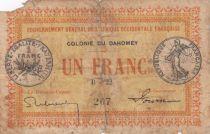 Dahomey 1 Franc - Colonie du Dahomey - 1917 - Série B.22 - AB - P.2