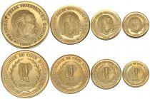 Dahomey Set of 4 Gold Coins - 1966 - F. Houphouet Boigny - AU
