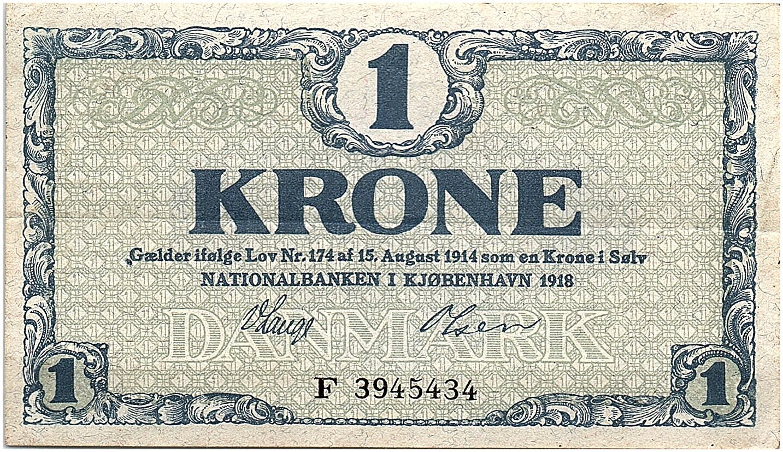 Danemark 1 Krone 1918 - SUP - Série  F - P.12.d