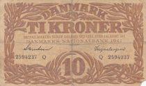Danemark 10 Kronen 1941 - Hermès - Série Q 2ème ex