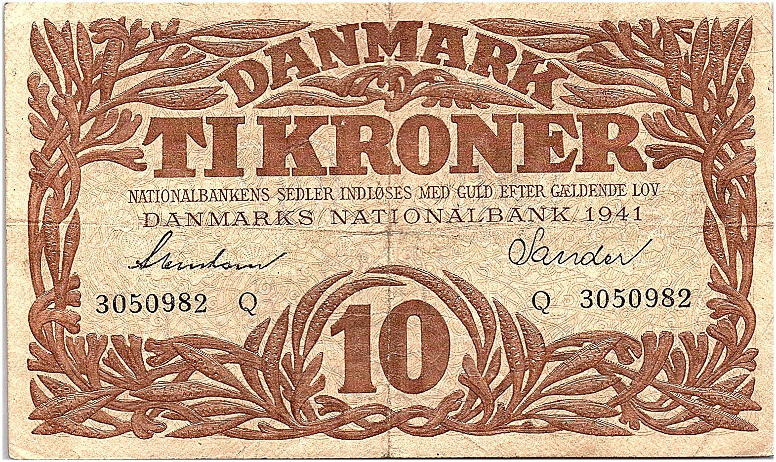 Danemark 10 Kroner 1941 - TB +  - Série Q - P.31