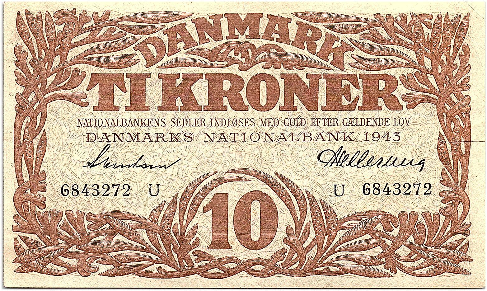 Danemark 10 Kroner 1943 - SUP  - Série U - P.31