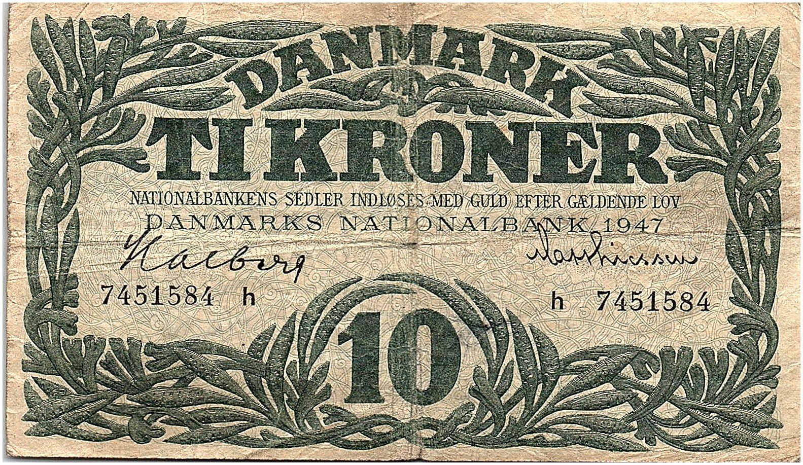 Danemark 10 Kroner 1947 - TTB  - Série h - P.37