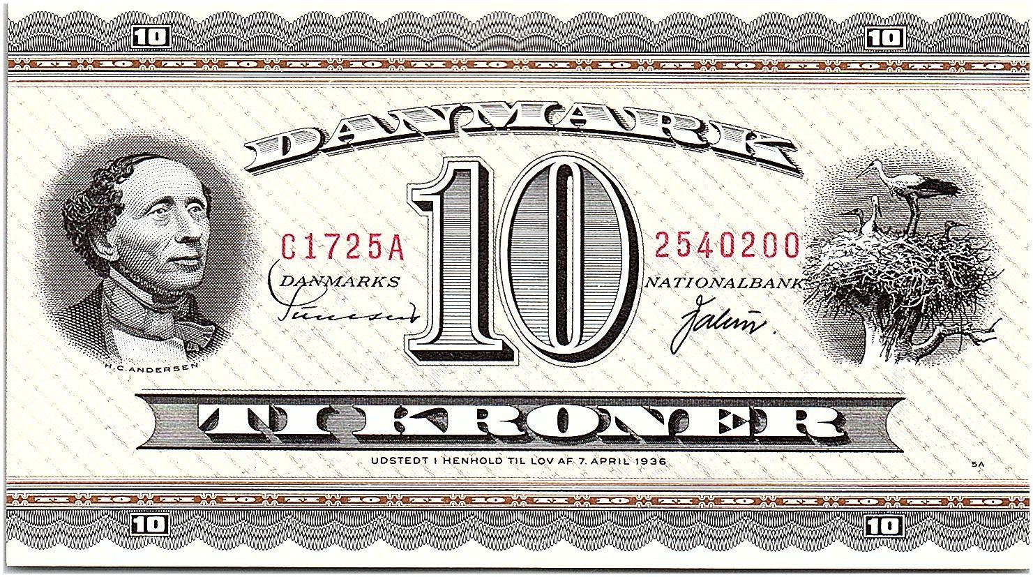 Danemark 10 Kroner Hans Christian Andersen - Cigognes - 1972 - C1 - SUP+- P.44