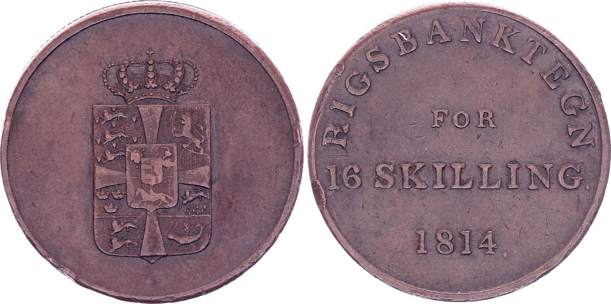 Danemark 16 Skilling,  Fréderic VI - 1814