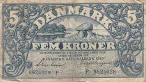 Danemark 5 Kronen 1940 - Paysage, Armoiries - Série F, rare