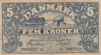 Danemark 5 Kronen 1942 - Paysage, Armoiries - Série G