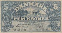 Danemark 5 Kronen 1942 - Paysage, Armoiries - Série H 2ème ex