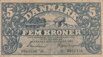 Danemark 5 Kronen 1942 - Paysage, Armoiries - Série H