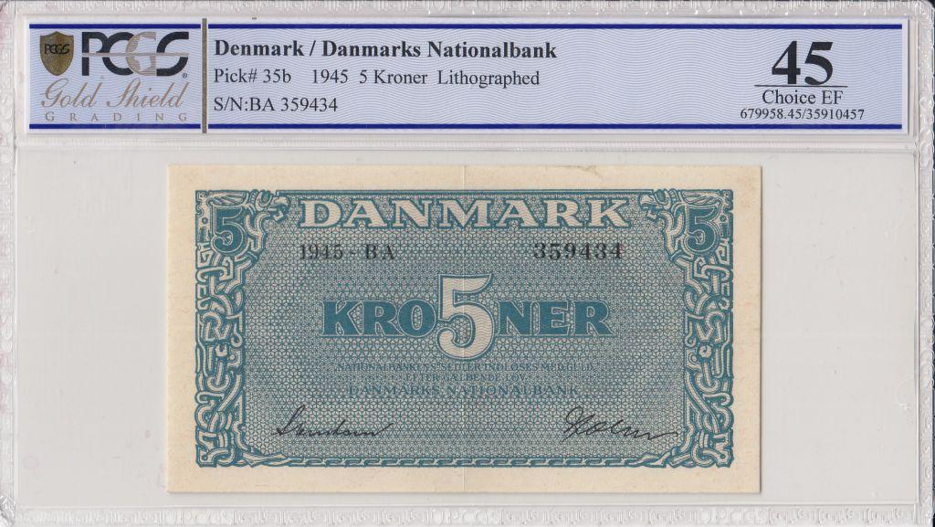 Danemark 5 Kroner Bleu - 1945 - PCGS 45