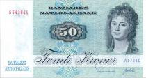 Danemark 50 Kroner, Mme Ryberg - Poisson  - 1972 - A1