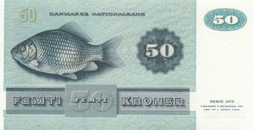 Danemark 50 Kroner, Mme Ryberg - Poisson  - 1997 - Série D4 - P.50n - Neuf