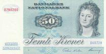 Danemark 50 Kroner, Mme Ryberg - Poisson  - 1997 - Série D4