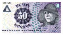 Danemark 50 Kroner 2005 - Karen Blixen, détail sculpture église de Landet