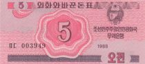 Democratic People´s Republic of Korea 5 Chon Pink - 1988