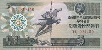 Demokratische Volksrepublic Korea 5 Won Statue Chollima - 1988