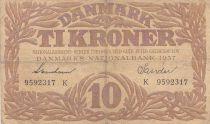 Denmark 10 Kronen 1937 - Hermes - Serial K