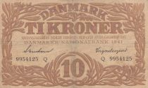 Denmark 10 Kronen 1941 - Hermes - Serial Q