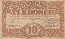 Denmark 10 Kronen 1941 - Hermes - Serial R