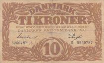 Denmark 10 Kronen 1942 - Hermes - Serial S