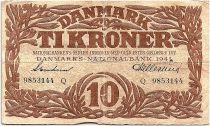 Denmark 10 Kroner 1941 - Fine - Letter Q - P.31