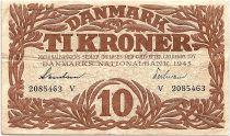 Denmark 10 Kroner 1943 - VF - Letter V - P.31