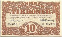 Denmark 10 Kroner 1943 - XF - Letter U - P.31