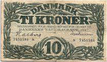 Denmark 10 Kroner 1947 - VF - Letter h - P.37