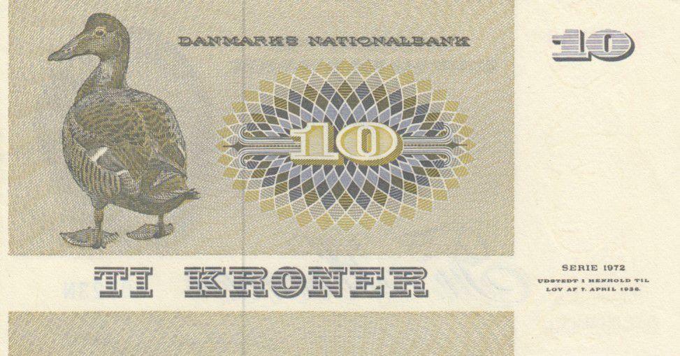 DENMARK 10 KRONER ND 1972 P 48 XF//AU