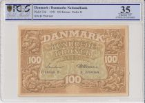 Denmark 100 Kroner 1943 - Ornamentation of Dolphins -1943 - PCGS VF 35