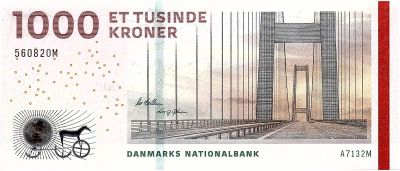 1,000 2012 P-69b Bridge Serie Unc Kroner Denmark 1000
