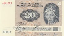 Denmark 20 Kroner, Pauline Tutein - House Sparrow - 1988 - Serial C8 - AU